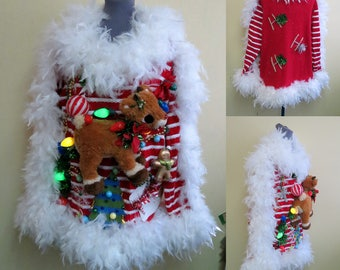 A vision in White Fluff Hysterical Rudolph Reindeer Tacky Ugly Christmas Sweater, XL, Fluffy White Boa Trim, Candy Cane Striped Sweater WOW