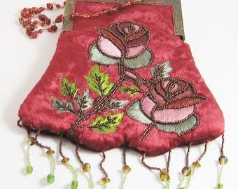 Art Deco Flapper Bag Purse Beaded Red Velvet Hand Made Needle Work Roses Flowers Scalloped Fringe Zelda Gatsby