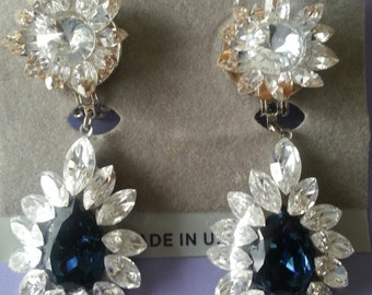 Dangling Sapphire Swarovski Crystal Earrings