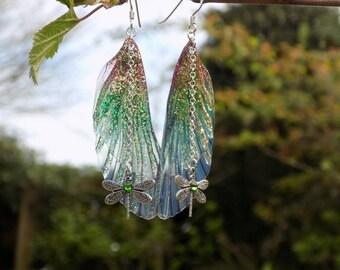 Fairy Wing Earrings, Fairy Earrings, Faerie Earrings, Copper, Pink and Green Earrings, Hand Painted, Dragonfly Earrings, Boho, Woodland