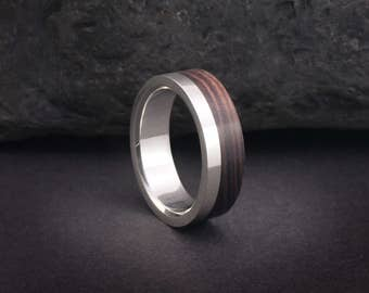 Wooden ring or wood wedding bands, sterling silver and kingwood wood ring or wedding bands, wood ring for men and women, EU UK US size