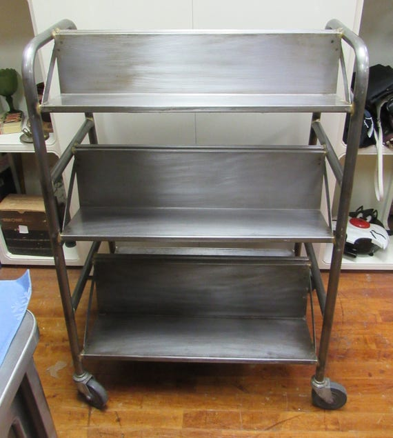 Industrial steel book cart with wheels mid century modern