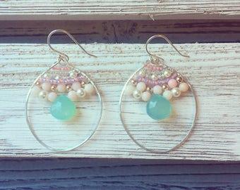 Chalcedony Hoop Earrings, Silver Hammered Hoops Earrings, Gemstone Beaded Hoops