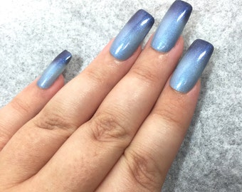 Blue Nail Polish - Color Changing Thermal Mood Polish - Velvet Rain from Crystal Knockout - Reduced Chemical 5-Free (15mL Full Size)
