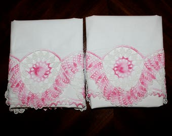 Vintage Pair of White Cotton Pillowcases with Pink Crocheted or Tatted Edge