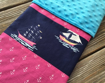 Patchwork Baby/Toddler/Crib Blanket/Quilt, Nursery Decor, Photography Prop ~ Pink//Nautical//Sailboat//Anchor