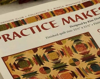 Kim Diehl's Practice Makes Perfect kit, Fabric for top and backing and pattern