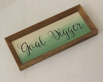 framed goal digger sign, gallery wall art, dorm decor, gift for teen, grad gift, gift for grad, graduation gift