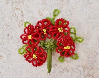 Vintage Beaded Flower Bouquet Pin Brooch Red & Green Mother's Day Mix Media Upcycle Supply Theatre Costume Jewelry Mothers Day