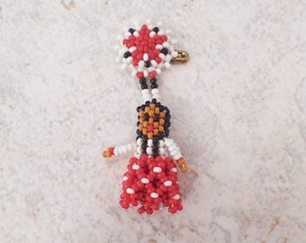 Vintage Beaded Pin Brooch Native American Indian Girl Red White Black Seed Beads Mother Day