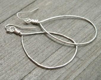 Hammered silver earrings - large hoop earrings - Gifts for Her - handmade sterling silver hoops