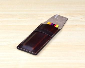 Leather Pen Case, Pencil Case, Leather Pen Pouch, Pen Holder, Pencil Pouch, Personalized Gift - Horween Brown Chromexcel