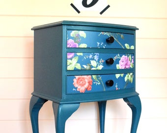 Hand painted upcycled vintage bedside/occasional three drawer unit with floral paper detail