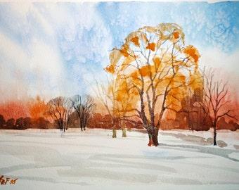 Winter original watercolor, snow painting, original watercolor painting, landscape painting, winter landscape, winter deco, aquarelle home