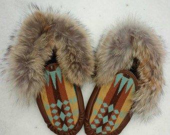 Women's Wool and Coyote Moccasins-Size 9