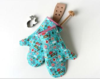 Oven glove oven mitt pot holder oven cloth blue kittchen
