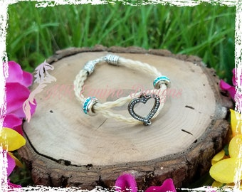 Double Strand, Hand Braided Horse Hair Bracelet with Heart Charm Link