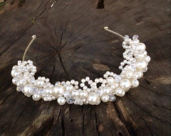 bridal tiara, ivory headband, wedding head piece, pearl and rhinestone halo, brides accessories, gift for her