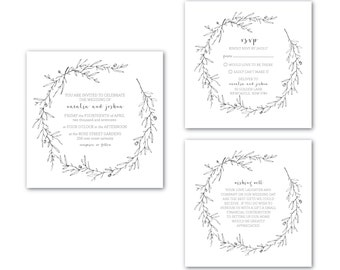 Printable Wedding Invitation | Customised | Wedding Invitation | Wedding Invitation Set | Branches and Twigs Suite