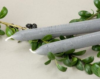 Shark Gray Taper Candles (Set of 6)  - 10 inch - Dinner Candles - Hostess Gift - Cozy Decor - Gray Home Decor