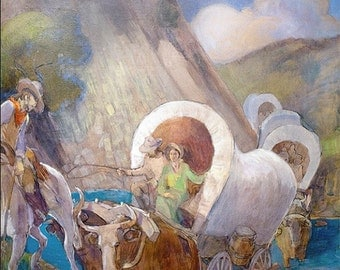 Covered Wagon Pioneers - By Minerva Teichert
