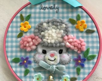 Kitsch Retro Baby Lamb Poodle Embroidery Hoop Wall Art, 3D Felt Wall Art , New Home  Baby Gift