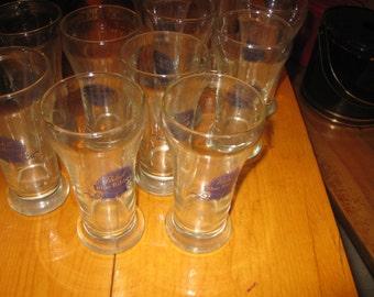 Vtg set of 11 Pabst Blue Ribbon Draft Beer Glasses Madcave/ Vintage heavy beer glasses