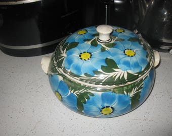 Vtg Mod BLue Yellow Colorful bold mid century covered soup Tureen / serving bowl/ vegetable bowl colorful pottery mod 60s bold great vtg