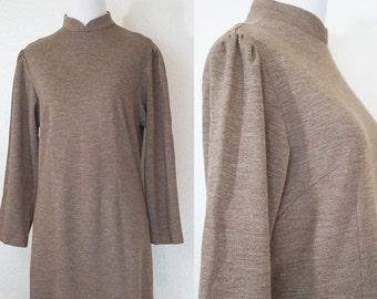 1960s Cocoa Brown Mandarin Sweater Dress L