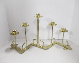 K Vintage gold tone folding candle holder  fair condition Used