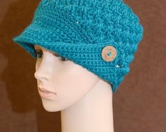 Teal Button Brim Hat