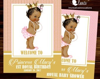 Pink and Gold Royal Baby Shower Party Sign  - Digital File