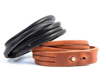 Bracelet leather full grain vachetta tan leather