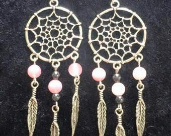 Handmade beautiful dangle dreamcatcher earrings, necklace or set, pink jade, other colours available