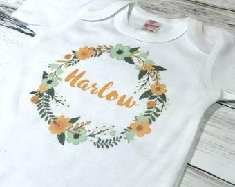 PERSONALIZED FLORAL WREATH onesie - bohemian floral wreath