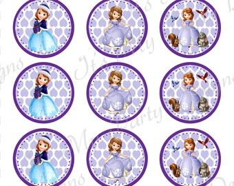 "Printable Sophia Bottle Cap:  1"" Bottle Cap Digital Download featuring Sophia with a purple heart background"