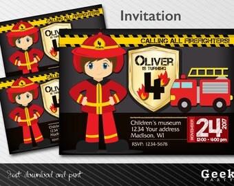 Firefighter Party Style Invitation - Printable - Fireman - Adjust eyes, hair, skin