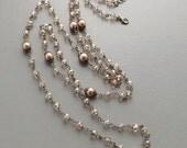 Ultra long long necklace . Cream glass pearl crystal bronze tone beige bridal prom handmade flapper wedding