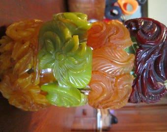 4 Bakelite Bangles EACH 300.00 - Mustard, Lime, Dark Red, Pink Beige