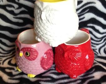 large fat owl tattoo coffee cup mug handmade hand made ohio usa pottery ceramics