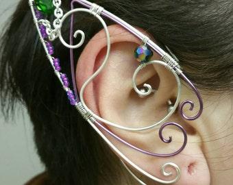 Silver Lavender Emerald Elf Ear Cuff, Cosplay, Ear Cuff, Clip On Earring, Wood Elf, Fairies, Fantasy Wedding,