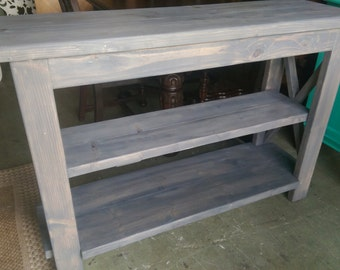Weathered Gray Rustic / Farmhouse Console Table with X side design