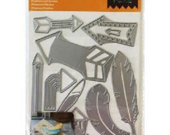 Cricut Cuttlebug Cut & Emboss Dies  FEATHERS and ARROWS 12 pc cutting dies by Cricut cc52
