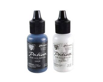 Vintaj Patina Metal Ink - ONYX and  MARBLE 2 - .5 oz bottles 1.cc05