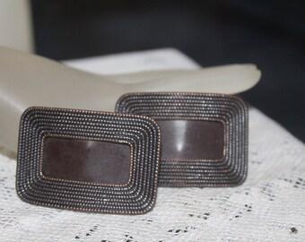 Brown Art Deco Shoe Clips, Brown Shoe Buckles