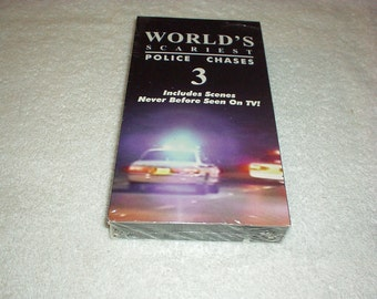 1997 World's SCAREST Police Chases #3 VHS Tape By Pursuit/Earl Greenburg(Never Before Seen on TV the Chases/Criminals/Crashes/Cops) Rare/New
