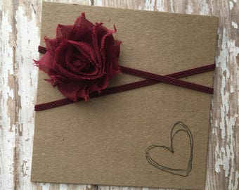 Burgundy MINI Shabby Flower Headband
