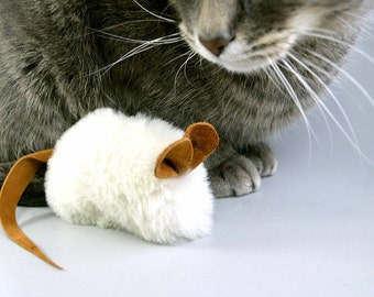 Cute Cat Toy Mouse with Tan Ears and Tail, Real Sheepskin Fur Natural Color