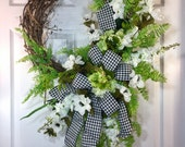 Oval Everyday, Neutral White, Black, and Green Grapevine Wreath