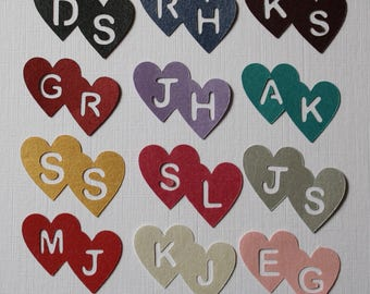 Personalised Heart Confetti - Double Hearts and Initials -75 pieces - 39 colours - Custom made for your wedding, engagement, anniversary